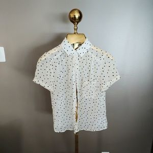 Forever 21 White Blouse with Little Black Hearts